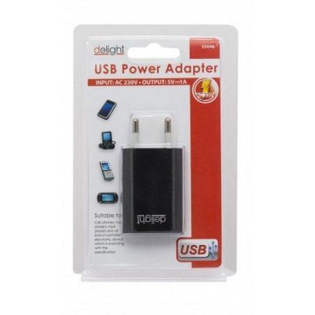 Delight USB-s hálózati adapter (1A)