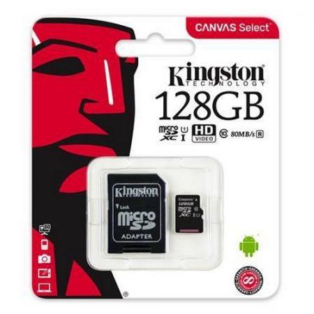 Kingston 128GB MicroSDXC CL10 memóriakártya + SD adapter