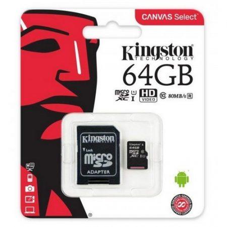 Kingston 64GB MicroSDXC CL10 memóriakártya + SD adapter