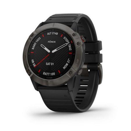 Garmin Fenix 6X Pro Sapphire Carbon DLC Szürke / Fekete szíj