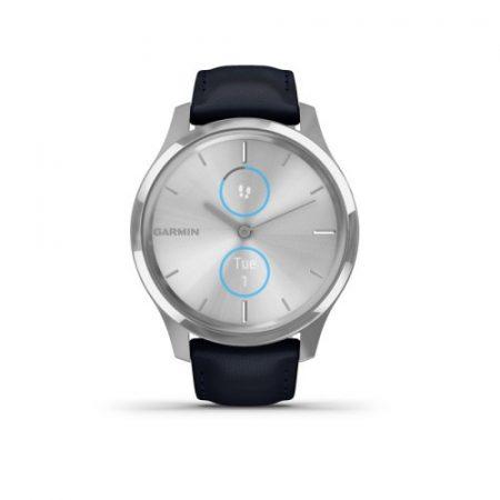 Garmin Vívomove Luxe Matt Ezüst/Navy Kék bőr