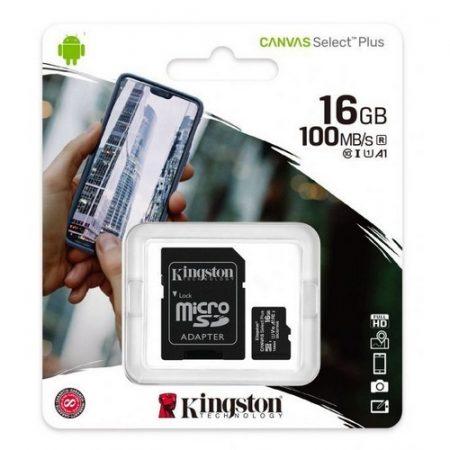 Kingston Canvas Select Plus 16GB MicroSDHC CL10 memóriakártya + SD adapter