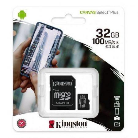 Kingston Canvas Select Plus 32GB MicroSDHC CL10 memóriakártya + SD adapter