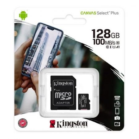 Kingston Canvas Select Plus 128GB MicroSDXC CL10 memóriakártya + SD adapter