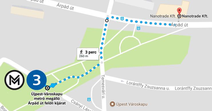 Nanotrade megközelítése Újpest-Városkapu metrótól